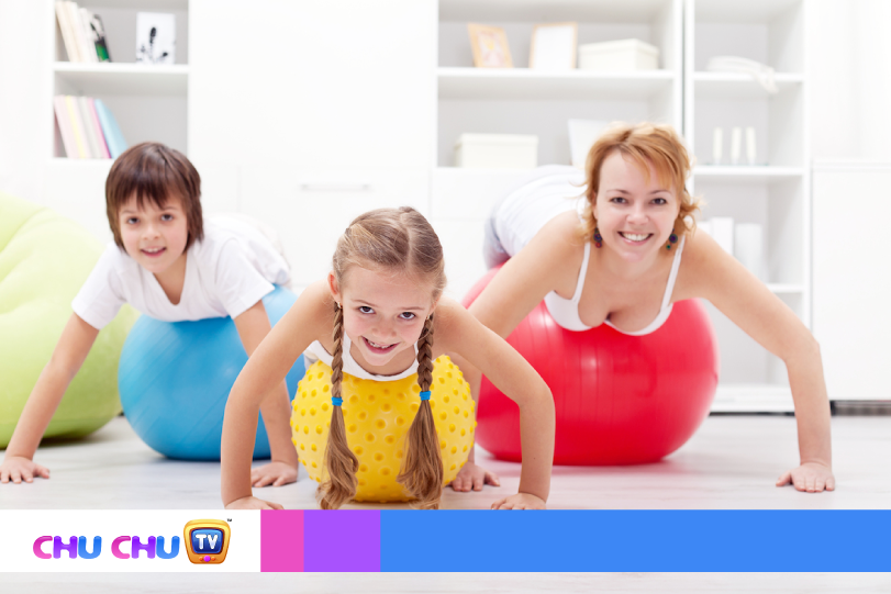 Mother with children exercise