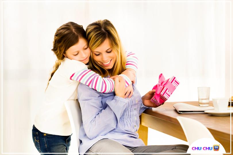 girl hugging her mother
