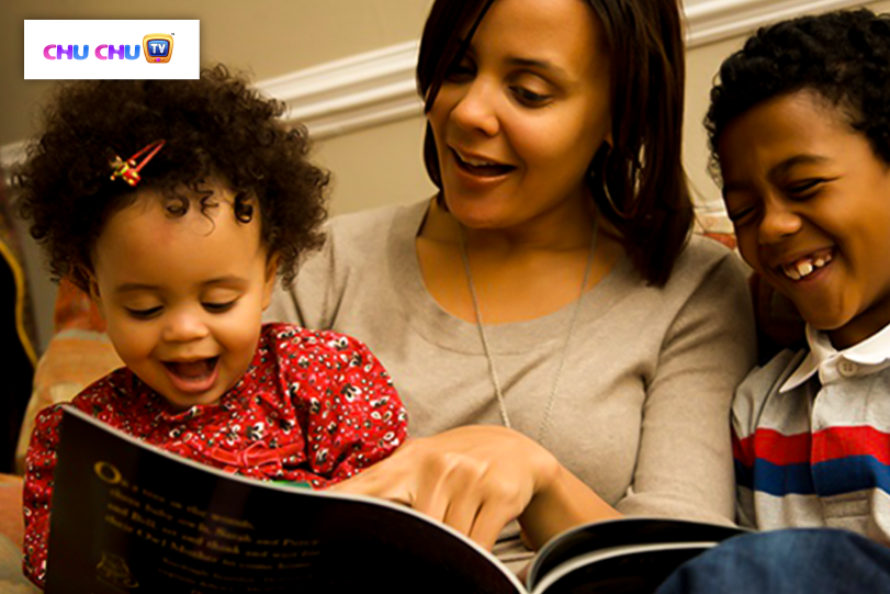 mother with two kids reading