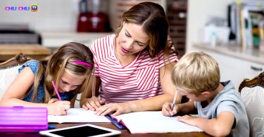 kids doing homework with kids